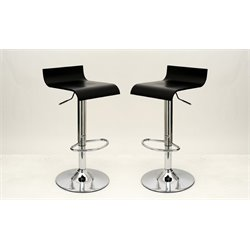 Manhattan Comfort Ludlow Adjustable Bar Stool in Black (Set of 2)