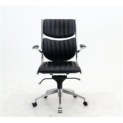 Manhattan Comfort Verdi Ergonomic Leather Office Chair in Black