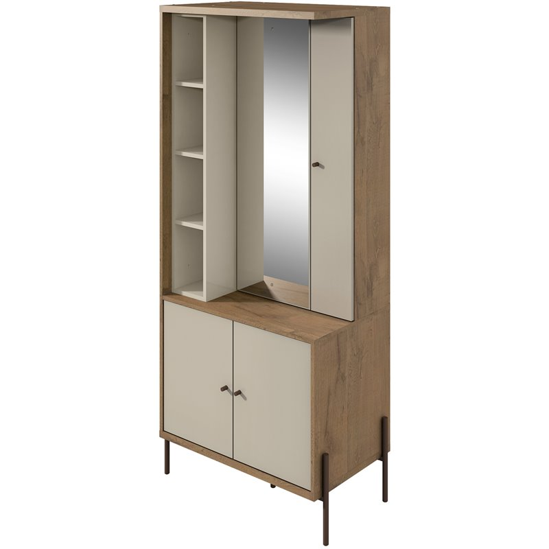 Manhattan Comfort Joy Jewelry Armoire with Mirror in Off Whi