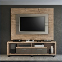 Manhattan Comfort Cornelia TV Stand in Nature and Metallic Onyx