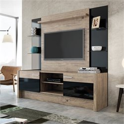 Manhattan Comfort Morning Side Entertainment Center in Nature and Black