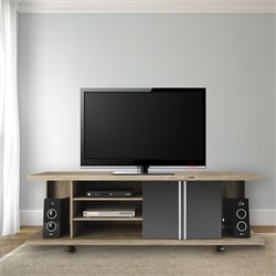 Manhattan Comfort Carnegie TV Stand in Nature and Metallic Onyx