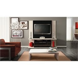 Manhattan Comfort Delacorte TV  Entertainment Center in Nature White and Black