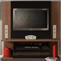 Manhattan Comfort Delacorte TV Entertainment Center in Mocha and Black