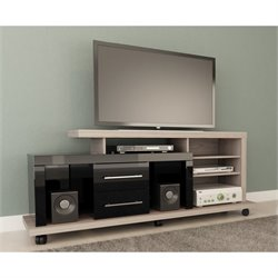 Manhattan Comfort Empire TV Stand in Nature White and Black