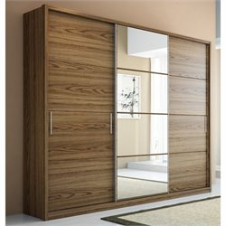 Manhattan Comfort Bellevue 3-Door Wardrobe in Chocolate