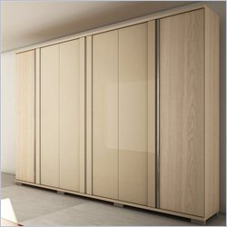 Manhattan Comfort Soho Wardrobe in Oak Vanilla and Metallic Nude