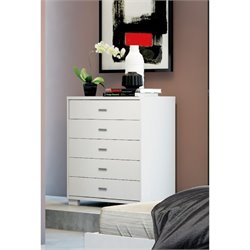 Manhattan Comfort Astor 5 Drawer Dresser in White Gloss