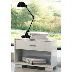 Manhattan Comfort Astor 1 Drawer Nightstand in White Gloss