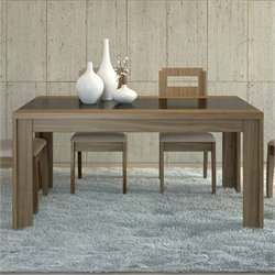 Manhattan Comfort Eastern Dining Table in Walnut and Black Gloss