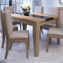 Manhattan Comfort Trimble Dining Table in Walnut and Black Gloss