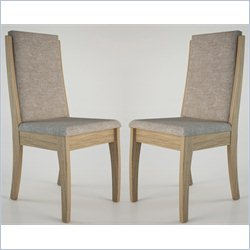 Manhattan Comfort Florence Dining Chair in Walnut and Gray (Set of 2)