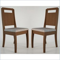 Manhattan Comfort Ferry Dining Chair in Nut Brown and Gray (Set of 2)