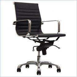 Manhattan Comfort Delancey Adjustable Mid Back Office Chair in Black