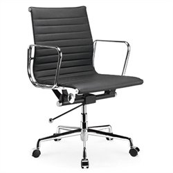 Manhattan Comfort Ellwood Adjustable Mid Back Office Chair in Black