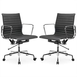 Manhattan Comfort Ellwood Adjustable Mid Back Office Chair in Black (Set of 2)