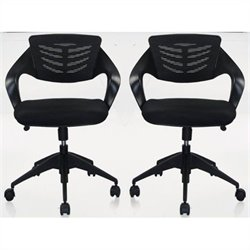 Manhattan Comfort Grove Office Chair in Black (Set of 2)