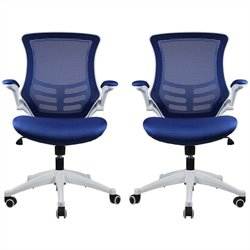 Manhattan Comfort Lenox Office Chair in Royal Blue (Set of 2)