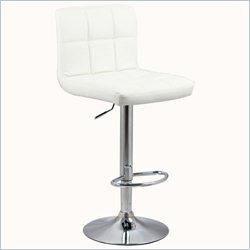 Manhattan Comfort Paladino Adjustable Bar Stool in White