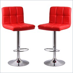 Manhattan Comfort Paladino Adjustable Bar Stool in Red (Set of 2)
