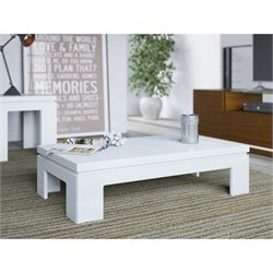Manhattan Comfort Bridge 2.0 Series Coffee Table in White Gloss