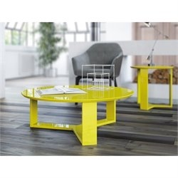 Manhattan Comfort Madison 1.0 Series Round Coffee Table in Yellow