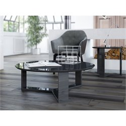 Manhattan Comfort Madison 1.0 Series Round Coffee Table in Black Gloss