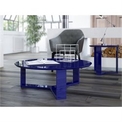 Manhattan Comfort Madison 1.0 Series Round Coffee Table in Blue