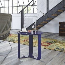 Manhattan Comfort Madison 2.0 Series Round End Table in Midnight Blue