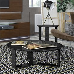Manhattan Comfort Madison 2 Piece Coffee Table Set in Black Gloss