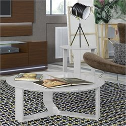 Manhattan Comfort Madison Coffee Table and End Table Set in Off White