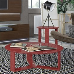 Manhattan Comfort Madison Coffee Table and End Table Set in Red