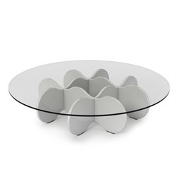 Manhattan Comfort Waverly Glass Top Round Coffee Table