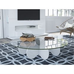 Manhattan Comfort Waverly Glass Top Round Coffee Table in White Gloss