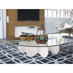 Manhattan Comfort Waverly Glass Top Round Coffee Table in Off White