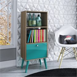 Manhattan Comfort Sami 2 Shelf Bookcase in Oak Aqua