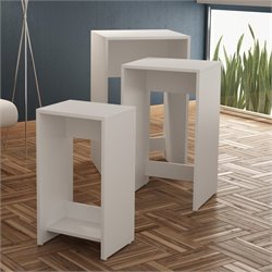 Manhattan Comfort Saffle 1.0 Series Nesting Table in White