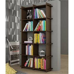 Manhattan Comfort Gisborne 1.0 Series 10 Shelf Bookcase in Tobacco