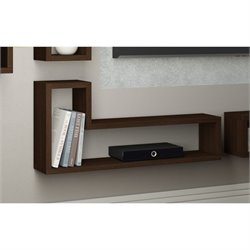 Manhattan Comfort Barbas Wall Display Shelf in Tobacco