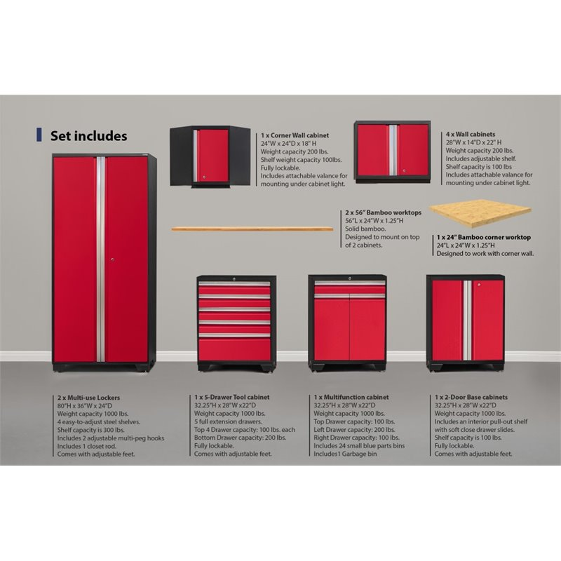 NewAge Pro Series 15 Piece Garage Corner Bamboo Top Cabinet Set In Red