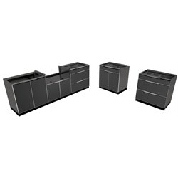 NewAge Outdoor Kitchen 5 Piece 2 Station Kitchen in Aluminum Slate