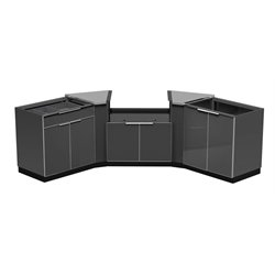 NewAge Outdoor Kitchen 5 Piece Kitchen Set (with Slot) in Aluminum Slate