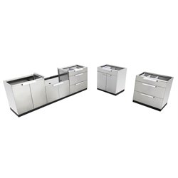 NewAge Outdoor Kitchen 5 Piece 2 Station Kithenin Stainless Steel Classic