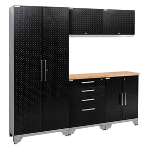 NewAge Performance 2.0 6 Piece Diamond Plate Cabinet Set in Black (A)