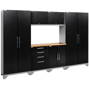NewAge Performance 2.0 7 Piece Diamond Plate Cabinet Set in Black (A)
