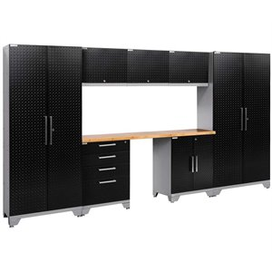 NewAge Performance 2.0 8 Piece Diamond Plate Cabinet Set in Black (A)