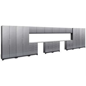 NewAge Performance 2.0 16 Piece Diamond Plate Cabinet Set in Silver (A)