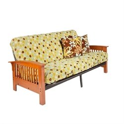 Night and Day Arbor Full Wood and Metal Futon in Cherry