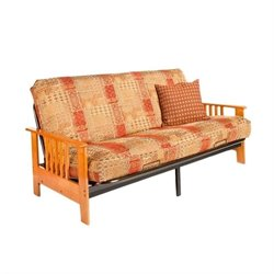 Night and Day Dakota Full Wood and Metal Futon in Honey Oak
