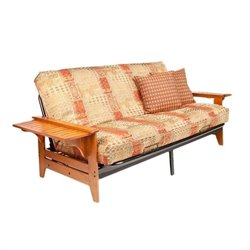 Night and Day Coral Full Wood and Metal Futon in Cherry
